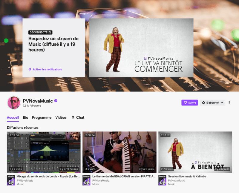 Page Twitch de Pv Nova