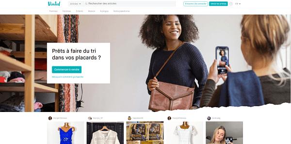 homepage du site de vente en ligne Vinted consacré à la revente de vêtements usagers