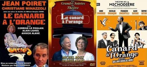 affiches de différentes mises en scène de la comédie le canard à l'orange