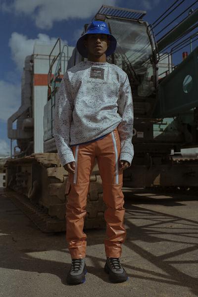 pantalon traite orange delannée
