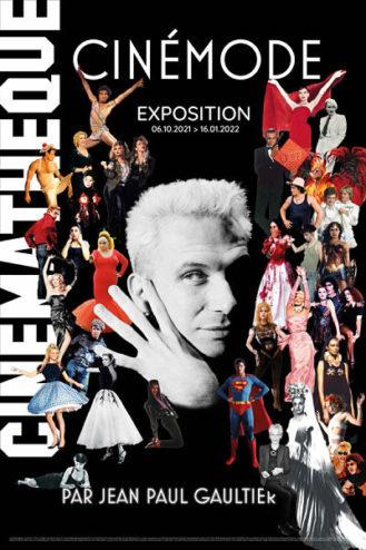 affiche de l'exposition Cinémode de Jean-Paul gaultier à la Cinémathèque