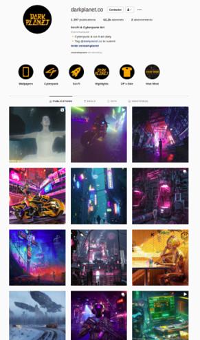 gros plan sur le compte Instagram de la marque cyberpunk Darkplanet.co