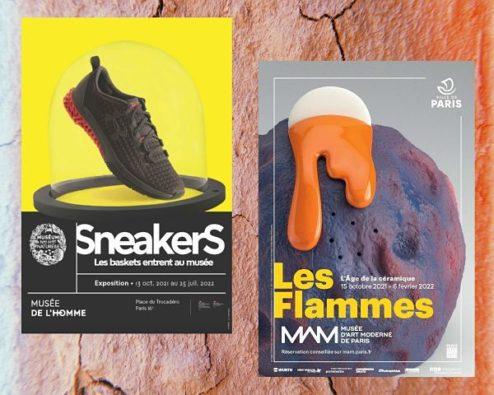 affiches des expositions Sneakers et Les Flammes
